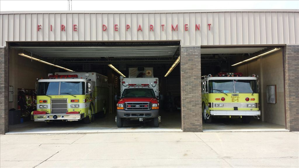 Fire trucks parked in the Fire Department garage